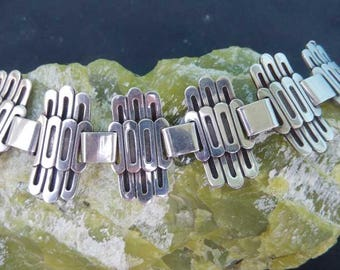 Mid Century Modern Miguel for Jose Flores Wide Taxco Sterling Bracelet