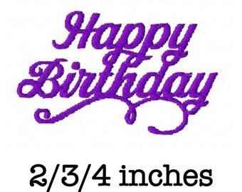 Happy birthday script machine embroidery design 2/3/4 inch instant download