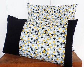 Cushion cover 50 x 30 cm patchwork fabric Scandinavian style, black, mustard, green and gray