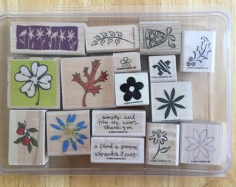 Crafting Stamps Flower Leaves Stars Foliage Stamps 16 stamps in a box Craft Supply