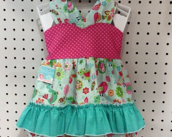 Pink Polka Dot/Teal Bird Top w/ Ruffle Bloomers
