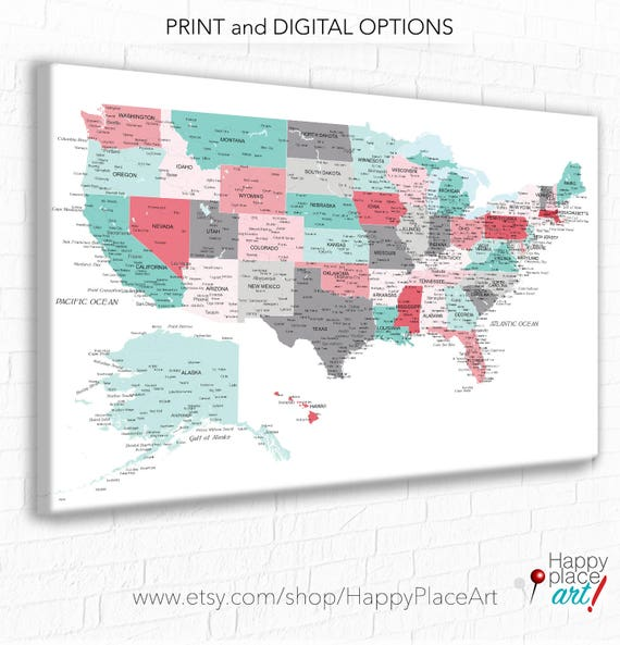 Push Pin Usa Map Customised Us Map City State Labels Us Pin Map Us Map For Detailed Map Of America Map Of United States Canvas