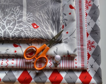 Christmas Fabric Bundle/4 Fat Quarters/Red Birds, Argyle, Snowflakes, Stripe/Gray and White Trees/Quilting and Crafts/Cotton Sewing Material