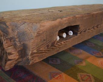 "Reclaimed Fireplace Mantel Shelf 38"" x 6"" x 6"" Barn Beam Wood Antique 1700s 1800s Barnwood Rustic Distressed Mantle Floating"