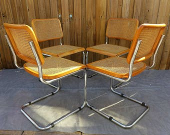 4 Vintage Cesca Chairs Chrome Cantilever Chair With Cane Seat And Back  Marcel Breuer Style Mid