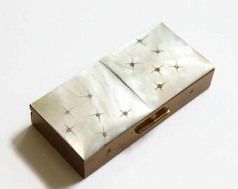 Vintage Mother of Pearl Case, Starburst Design, Jewelry Box, Midcentury Era, Circa 1950's