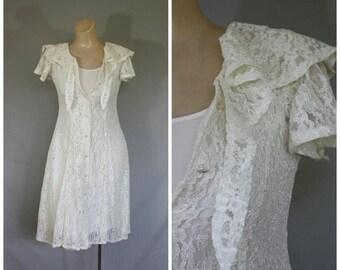 Sale 1980s Ivory Lace Mini Dress / Vintage Lace Button Dress /80s Jazz Dress / Flutter Sleeve Dress / Corset Tie Beach Wedding Dress  S
