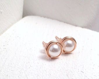 Rose Gold Pearl Stud Earrings | Rose Gold Filled | Rose Gold Bridesmaid Stud Earrings | Pearl Earrings UK
