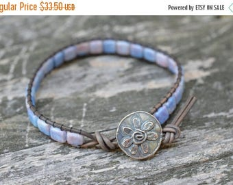 "Summer Sale 40% Czech Glass ""Cotton Candy"" Beaded Leather Wrap Bracelet - Flower Button - Tile Beads"