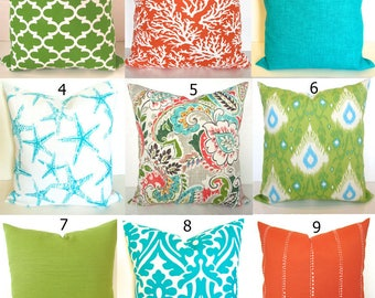 TURQUOISE Outdoor Pillows Aqua Blue Outdoor Pillow Covers Green Outdoor Pillow Coral Orange Pillows Yellow Outdoor Pillow Covers 16 18x18 20