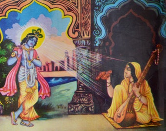 Vintage Krishna Indian print original flute playing God with Sarasvati muse 70's shrine home decor spiritual Hindu cosmic deities lucky