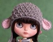 Lamb hat for Blythe, dark grey