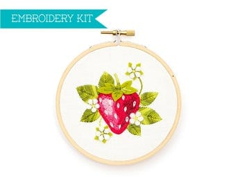 Embroidery Kit, Hand Embroidery Kit, Embroidery Pattern, DIY Embroidery, Strawberry, Hoop Art, Supply Kit, Needle Craft Kit, Embroidery, Kit