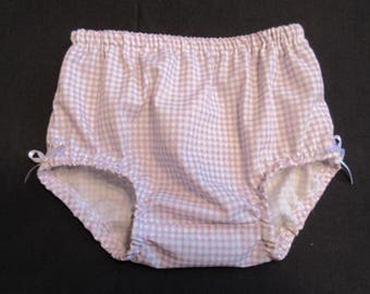 Lavender Diaper Cover,Baby Girl Newborn,  NB Bloomers,gingham Check, fits 6-10 lb
