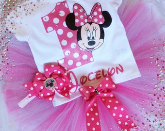 Minnie Mouse Birthday outfit, Minnie Mouse outfit, first birthday, Toddler baby girls, Birthday party, tutu, costume, Pink & Black Minnie