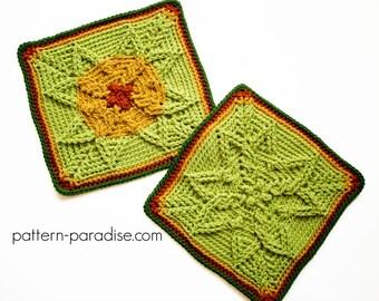 "Crochet Pattern Afghan Square Autumn Sunset 12"" Motif  PDF 17-317"