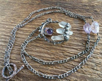 Quartz Crystal Necklace, Amethyst Moon Necklace, Soldered Jewelry, Bohemian Jewelry, Amethyst Necklace, Gift for Her