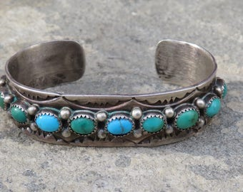 Turquoise Native American Cuff,Turquoise Jewelry,Turquoise Row Bracelet,Vintage Turquoise Rose Castillo,Navajo Signed Bracelet,