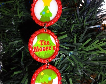 Christmas Tree PERSONALIZED Bottle Cap Christmas Ornament *ANY NAME* new