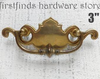 2 Original Drawer Pulls Brass Furniture Handles Vintage Hardware Chippendale Swing Cabinet Kitchen Long Gold Metal 3Inch ITEM DETAIL BELOW