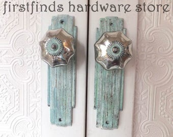 turquoise cabinet door pulls silver pantry handles blue patina hardware decorative knob back plate metal furniture