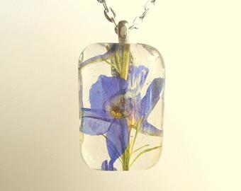 Real Purple Larkspur Rectangle Glass Pendant Necklace