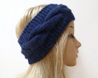 Navy Blue Wool Cable Headband - Women Knit Headband  - Hand Knitted Wool Cabled Ear Warmer - Aran Eco Friendly Headband - Clickclackknits
