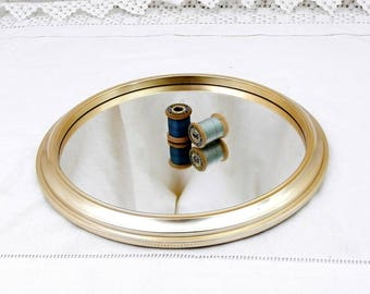 Vintage Round Mirrored Tray with Anodized Gold Rim, Retro Upcycled Wall Hanging Mirror, French Brocante Chic Decor, 1960s Vanity Accessory