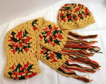 Vintage Hand Crocheted Scarf and Hat - Mustard Yellow Hunter Green Dark Orange