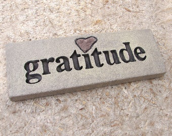 """Love Rocks """"gratitude"""" Plaque with Natural Found Heart Shaped Rock - Custom Made to Order - Word Wall Stone Art Sign Thank You Affirmations"""