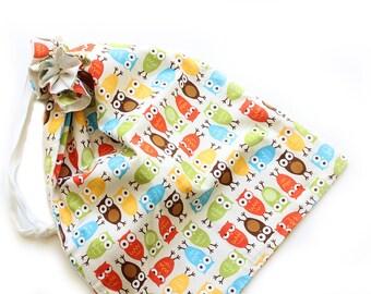 SALE || Drawstring Bag || Bright Owls || 55cm x 40cm