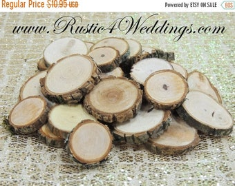 SALE 100 qty 1 to 1.5 inch Eclectic Wood Slices Mix in small sizes, for crafts, buttons, wood art, wedding table scatters, confetti, wood mo