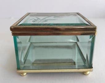 Lovely Brass Glass Trinket Box| Jewelery Box