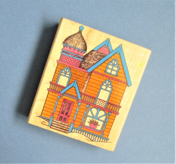 Victorian house craft rubber stamp large stamp destash for Craft supplies for card making