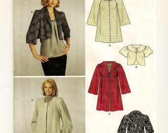 A Cropped / Bolero Jacket and Knee-Length Coat Pattern with Collar & Closure Variations for Women: Uncut - Sizes 8 thru 18 ~ New Look 6832