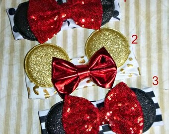 READY To SHIP Minnie Mouse Ears Headband Soft Elastic Fabric Glitter Ears with big Sequin Bow Fits Babies and Children