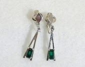 Xmas in July Sale Avon Emerald Rhinestone, Plaza IV GreenDangly Earrings, Clip On, Silvertone, Signed