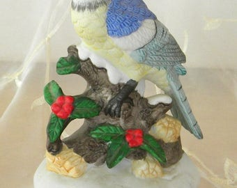 Summer Sale Blue Jay Wind Up  Music Box Figurine, Plays the Theme from Love Story, Where Do I Begin, Made in Taiwan, 1980s