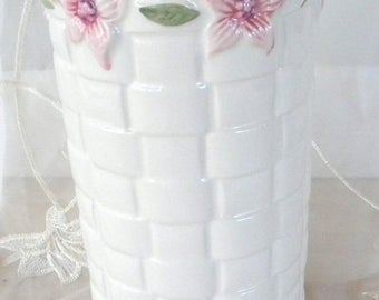 Summer Sale White Basket Weave Ceramic Vase with Pink Blossoms, Made in Portugal, Cylinder Vase, Perfect for Shabby Chic Decor
