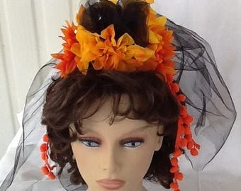 Summer Sale Day of the Dead Veil, Dia de los Muertos, Halloween Costume, Accessory, Headband, Flower Crown, Goth Veil
