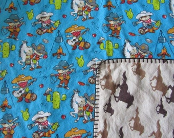 Blue Cowboy/Rodeo/Horse Double-sided Flannel Baby/Toddler Blanket