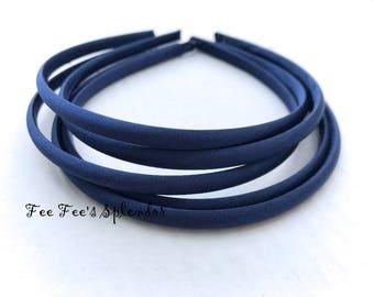 Set of 5 - Satin Lined headband - Navy Blue Satin headband- 7 mm- Hard headband- DIY headband blanknk