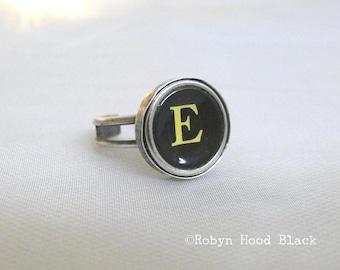 Typewriter Key Vintage Letter E Ring