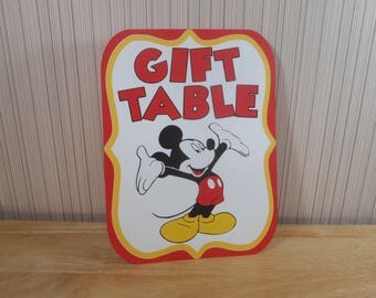 Mickey Mouse Birthday Party Sign, Gift Table Party Decoration, Mickey Mouse Clubhouse Party by FeistyFarmersWife