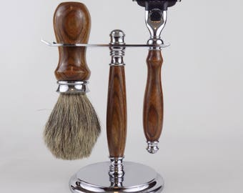Shaving Set in Chechen Wood with Badger Hair Brush and Mach 3 or Venus Razor