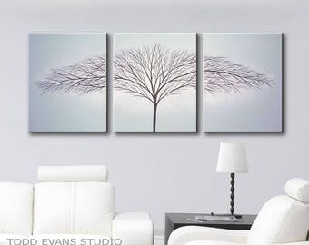 Paintings Canvas Art Home decor 3 piece Wall Art Original Painting Minimalist decor Gray Paintings Blue Tint 48x20