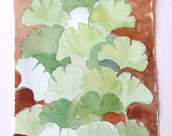 Brown Green Ginkgo leaves painting, Watercolour original, Botanical artwork, Ginkgo leaves illustration, Small watercolor 7,5 x 11 Art lover