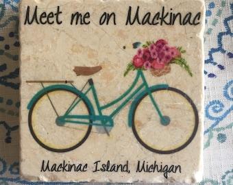 MACKINAC Island 4x4 tumbled tile coaster.