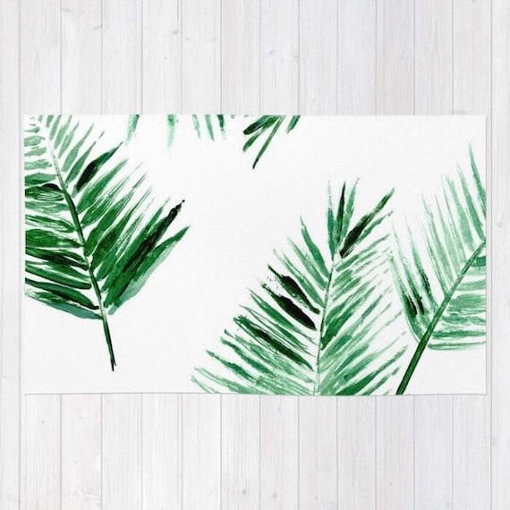 palm leaf area rug palm leaves rug modern area rug tropical. Black Bedroom Furniture Sets. Home Design Ideas
