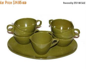 Camping dishes, Melamine, Retro Kitchen Dishes, 1950s Avocado, Olive Green, Dish Set, Green cups, creamer,  plate, Allied Chemical, vintage
